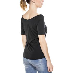 super.natural Essential Scoop Neck Tee 140 - Camiseta manga corta Mujer - negro